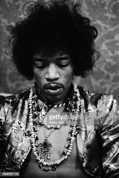 Jimi Hendrix backstage at the Hollywood Bowl in 1967
