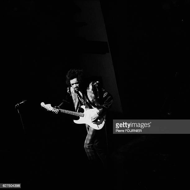 Jimi Hendrix on stage at the Olympia music hall