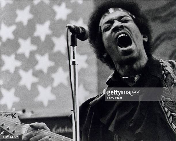 Jimi Hendrix performs at Golden Bear raceway in Sacramento California on April 26 1970