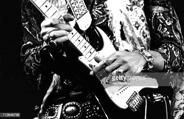 Jimi Hendrix performs live on stage at Falkoner Centret in Copenhagen Denmark on 10th January 1969 Close up of Hendrix's hands on the guitar