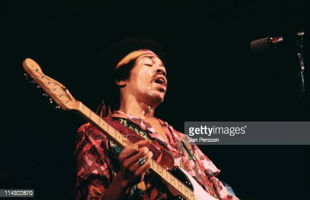 Jimi Hendrix performs live on stage at the KBHallen in Copenhagen Denmark on 3rd September 1970
