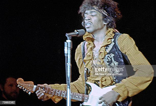 Jimi Hendrix performs onstage at the Monterey Pop Festival on June 18 1967 in Monterey California