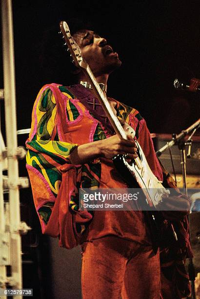 Jimi Hendrix plays his guitar on stage during the 1970 Isle of Wight Festival This was his last public performance before his death