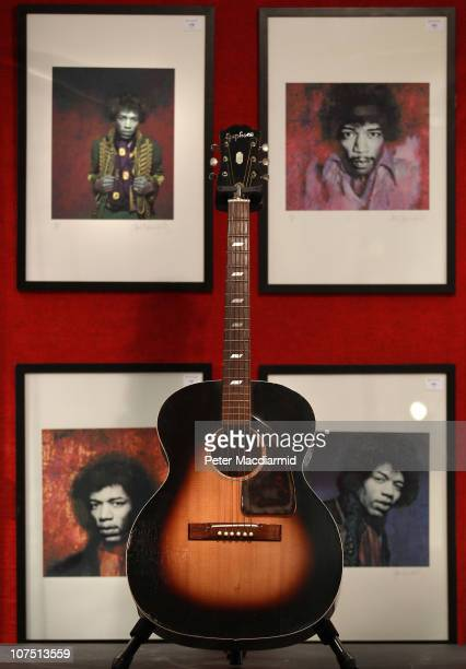 Jimi Hendrix's Epiphone FT79 guitar is displayed at Bonhams auctioneers on December 10 2010 in London England The guitar estimated at £80000 £120...