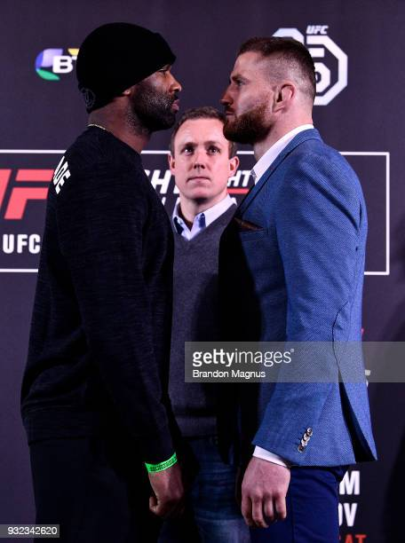 Jimi Manuwa of England and Jan Blachowicz of Poland face off during the UFC Fight Night Ultimate Media Day in Glaziers Hall on March 15 2018 in...