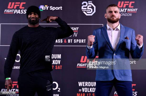Jimi Manuwa of England and Jan Blachowicz of Poland pose for the media during the UFC Fight Night Ultimate Media Day in Glaziers Hall on March 15...