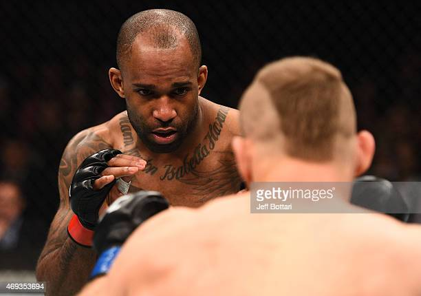 Jimi Manuwa of England battles Jan Blachowicz of Poland in their light heavyweight fight during the UFC Fight Night event at the Tauron Arena on...