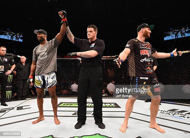 Jimi Manuwa of England celebrates after his decision victory over Jan Blachowicz of Poland in their light heavyweight fight during the UFC Fight...