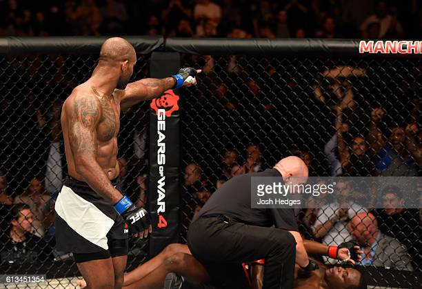 Jimi Manuwa of England celebrates his knockout victory over Ovince Saint Preux in their light heavyweight bout during the UFC 204 Fight Night at the...