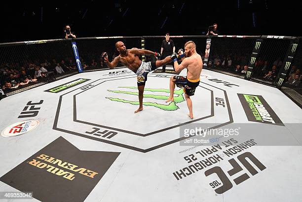 Jimi Manuwa of England kicks Jan Blachowicz of Poland in their light heavyweight fight during the UFC Fight Night event at the Tauron Arena on April...
