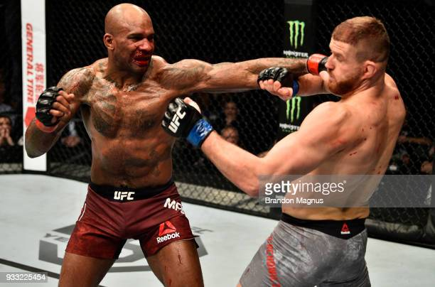 Jimi Manuwa punches Jan Blachowicz of Poland in their light heavyweight bout inside The O2 Arena on March 17 2018 in London England