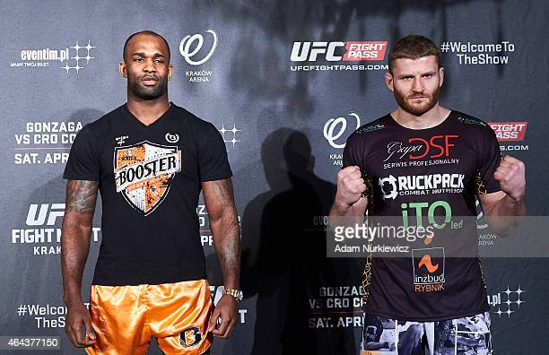 Jimi Poster Boy Manuwa from USA and Jan Blachowicz from Poland face off during a UFC press conference in Piwnica Pod Baranami Restaurant on February...