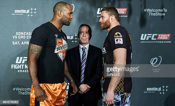 Jimi Poster Boy Manuwa from USA and Jan Blachowicz from Poland while face off during a UFC press conference in Piwnica Pod Baranami Restaurant on...