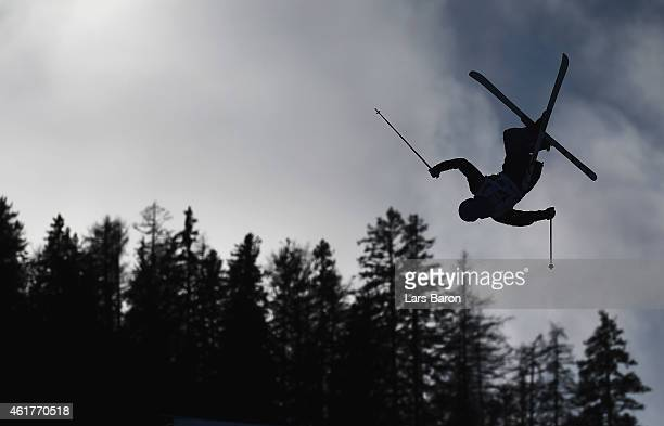 Jimi Salonen of Finland competes during the Men's Dual Moguls Round of 16 of the FIS Freestyle Ski and Snowboard World Championship 2015 on January...