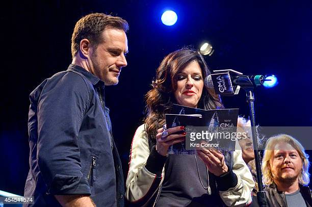 Jimi Westbrook and Karen Fairchild speak during the 48th Annual CMA Awards Nominees Announcement at Best Buy Theater on September 3 2014 in New York...