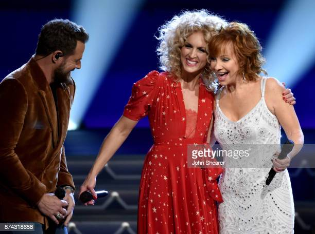 Jimi Westbrook and Kimberly Schlapman of Little Big Town and Reba McEntire perform onstage for CMA 2017 Country Christmas at The Grand Ole Opry on...