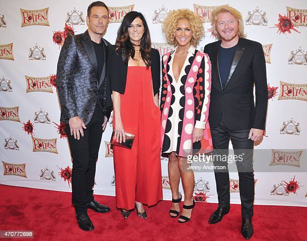 Jimi Westbrook Karen Fairchild Kimberly Schlapman and Philip Sweet of 'Little Big Town' attend Something Rotten Broadway opening night at St James...