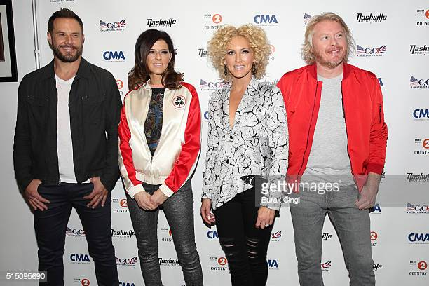 Jimi Westbrook Karen Fairchild Kimberly Schlapman and Philip Sweet of Little Big Town on day 2 of C2C Country 2 Country Festival at The O2 Arena on...