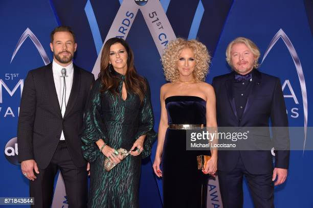 Jimi Westbrook Karen Fairchild Kimberly Schlapman and Philip Sweet of Little Big Town attends the 51st annual CMA Awards at the Bridgestone Arena on...