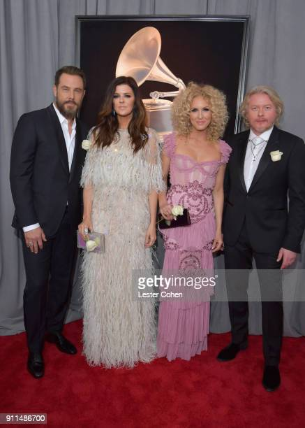 Jimi Westbrook Karen Fairchild Kimberly Schlapman and Philip Sweet of Little Big Town attend the 60th Annual GRAMMY Awards at Madison Square Garden...