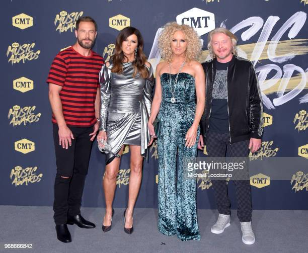 Jimi Westbrook Karen Fairchild Kimberly Schlapman and Philip Sweet of Little Big Town attend the 2018 CMT Music Awards at Bridgestone Arena on June 6...