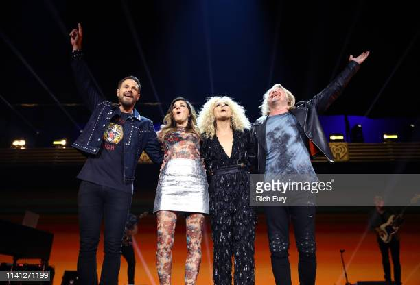 Jimi Westbrook Karen Fairchild Kimberly Schlapman and Phillip Sweet of Little Big Town perform onstage during the 2019 iHeartCountry Festival...
