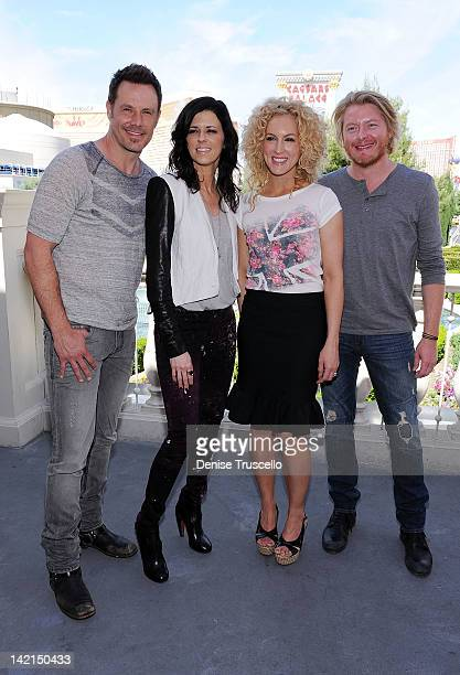 Jimi Westbrook Karen Fairchild Kimberly Schlapman and Phillip Sweet of Little Big Town pose at Serendipity 3 on March 30 2012 in Las Vegas Nevada