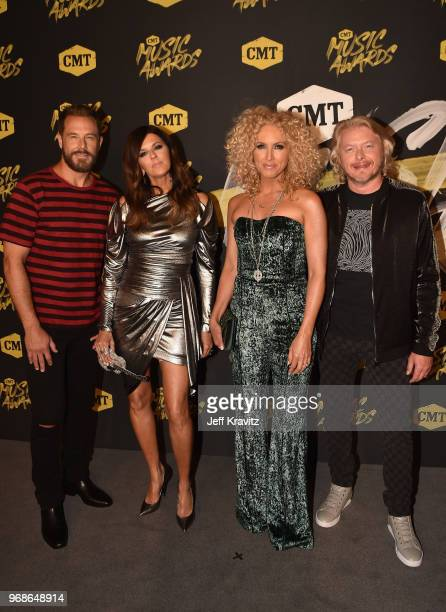 Jimi Westbrook Karen Fairchild Kimberly Schlapman and Phillip Sweet of Little Big Town attend the 2018 CMT Music Awards at Nashville Municipal...
