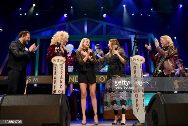 Jimi Westbrook Kimberly Schlapman Karen Fairchild and Philip Sweet of Little Big Town invite Kelsea Ballerini to become a member of The Grand Ole...