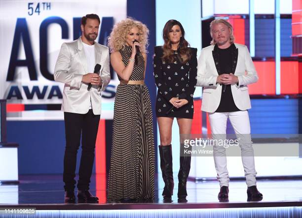 Jimi Westbrook Kimberly Schlapman Karen Fairchild and Philip Sweet of Little Big Town speak onstage during the 54th Academy Of Country Music Awards...