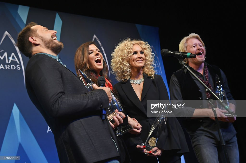 Jimi Westbrook, Kimberly Schlapman, Karen Fairchild and Philip Sweet of Little Big Town pose in the press room at the 51st annual CMA Awards at the Bridgestone Arena on November 8, 2017 in Nashville, Tennessee.