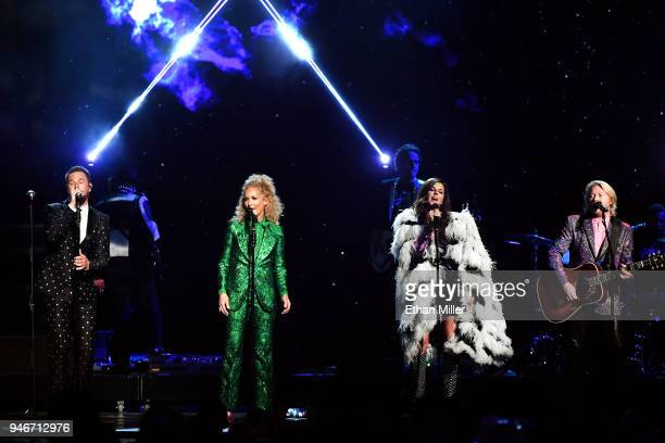 Jimi Westbrook Kimberly Schlapman Karen Fairchild and Philip Sweet of musical group Little Big Town perform onstage during the 53rd Academy of...