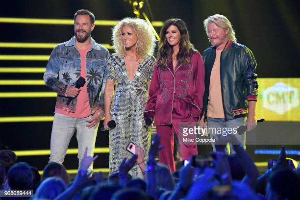 Jimi Westbrook Kimberly Schlapman Karen Fairchild and Philip Sweet of Little Big Town speak onstage during the 2018 CMT Music Awards at Bridgestone...