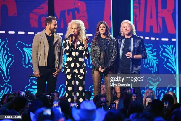 Jimi Westbrook, Kimberly Schlapman, Karen Fairchild and Phillip Sweet of musical group Little Big Town host the 2019 CMT Music Awards at Bridgestone...