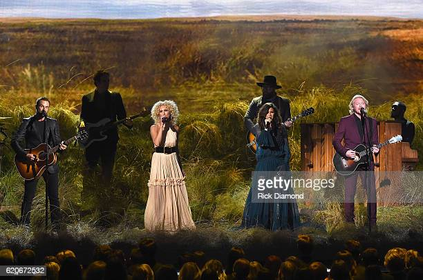 Jimi Westbrook Kimberly Schlapman Karen Fairchild and Phillip Sweet of Little Big Town perform onstage at the 50th annual CMA Awards at the...