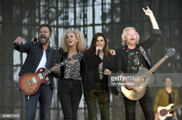 Jimi Westbrook Kimberly Schlapman Karen Fairchild and Phillip Sweet of Little Big Town perform during the 2018 Country Summer Music Festival at...