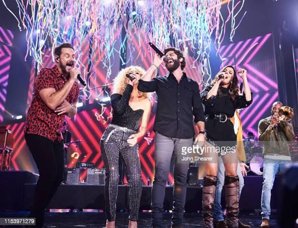 Jimi Westbrook, Kimberly Schlapman, Thomas Rhett, and Karen Fairchild of musical group Little Big Town at Bridgestone Arena on June 05, 2019 in...