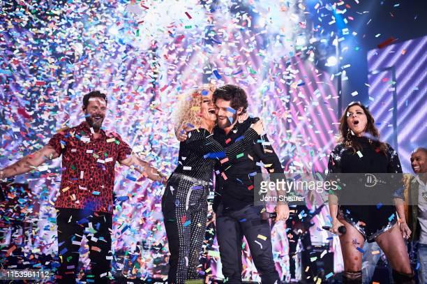 Jimi Westbrook, Kimberly Schlapman, Thomas Rhett, Karen Fairchild, and Phillip Sweet of musical group Little Big Town and Trombone Shorty perform at...