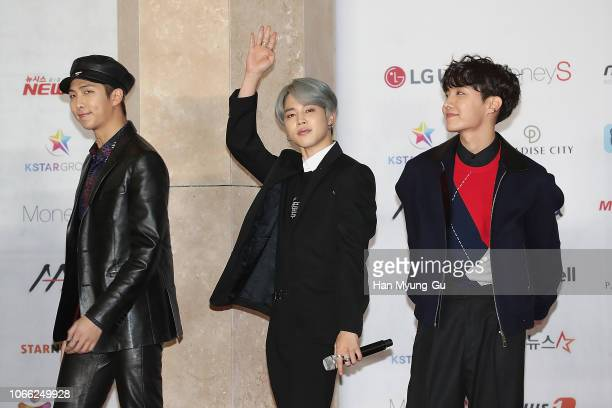 RM Jimin and JHope of boy band BTS attend the 2018 Asia Artist Awards on November 28 2018 in Incheon South Korea