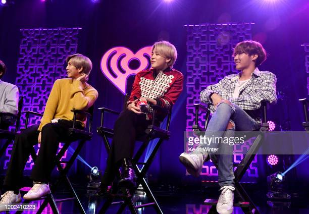 RM Jimin and JHope of BTS speak onstage at iHeartRadio LIVE with BTS presented by HOT TOPIC at iHeartRadio Theater on January 27 2020 in Burbank...