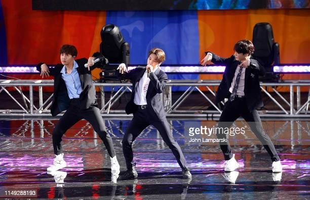 Jimin and Jungkook of BTS perform on Good Morning America on May 15 2019 in New York City