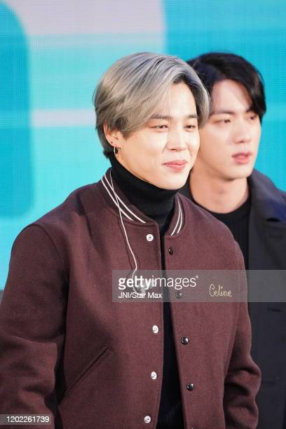 Jimin and Kim Seokjin are seen on February 21 2020 in New York City