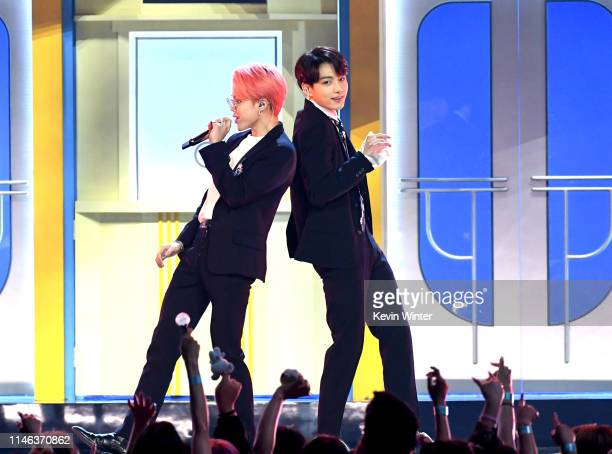 Jimin and Suga of BTS perform onstage during the 2019 Billboard Music Awards at MGM Grand Garden Arena on May 01, 2019 in Las Vegas, Nevada.