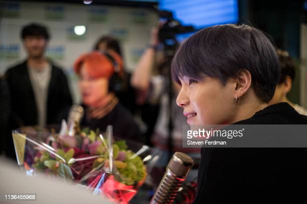 Jimin and Suga of BTS visit The Elvis Duran Z100 Morning Show at Z100 Studio on April 12 2019 in New York City