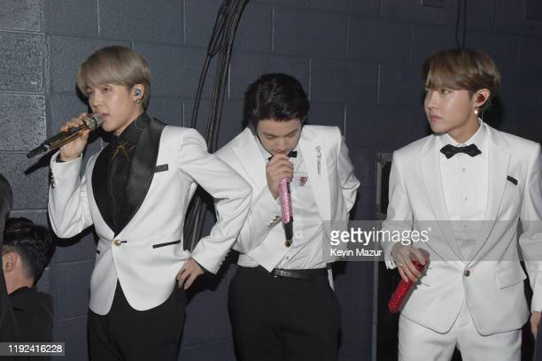 Jimin Jin and JHope of BTS attend 1027 KIIS FM's Jingle Ball 2019 Presented by Capital One at the Forum on December 6 2019 in Los Angeles California