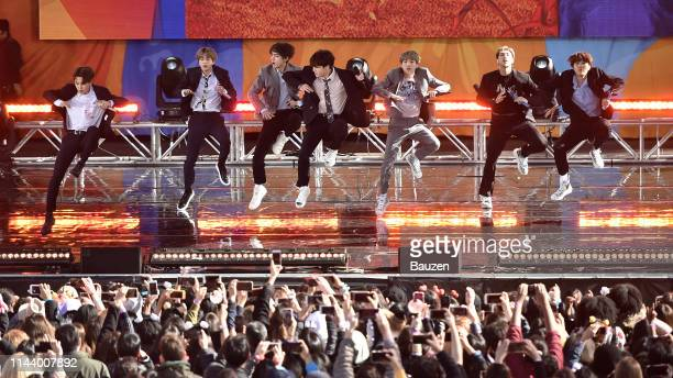Jimin Jin V Jungkook Suga RM and JHope of BTS perform on Good Morning America on May 15 2019 in New York City