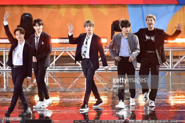 Jimin Jungkook Jin V and RM of BTS perform on Good Morning America on May 15 2019 in New York City