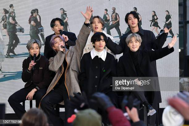 """Jimin, Jungkook, RM, J-Hope, V, Jin, and SUGA of the K-pop boy band BTS visit the """"Today"""" Show at Rockefeller Plaza on February 21, 2020 in New York..."""