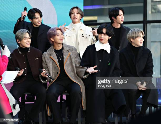 Jimin Jungkook RM JHope V Jin and SUGA of the Kpop boy band BTS visit the Today Show at Rockefeller Plaza on February 21 2020 in New York City