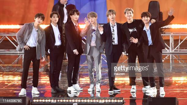 V Jimin Jungkook Suga Jin RM JHope of BTS perform on Good Morning America on May 15 2019 in New York City